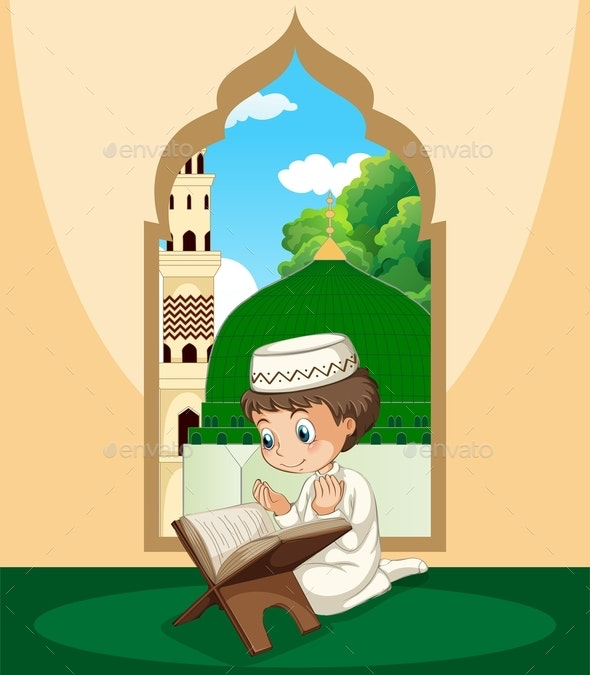 Muslim Boy Study Qur'an - People Characters