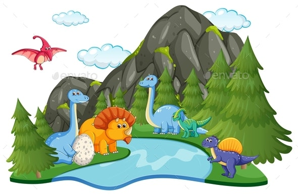 Many Dinosaur in Nature - Animals Characters
