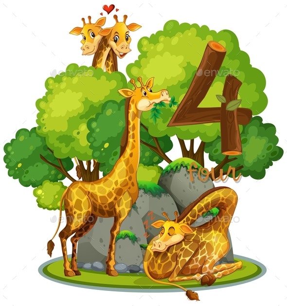 Four Giraffes in Nature - Animals Characters