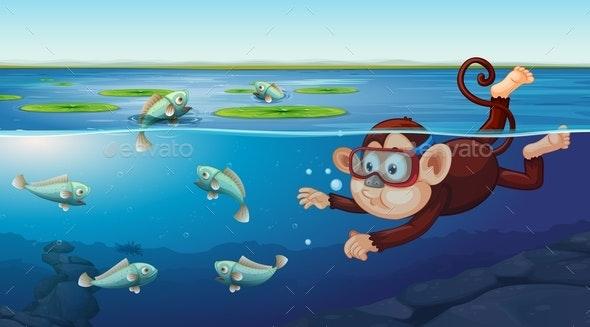 Monkey Swimming Underwater Scene - People Characters