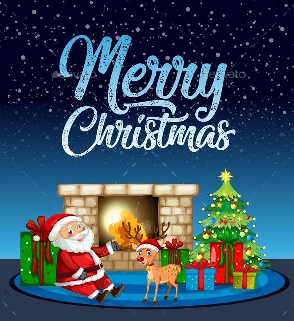 Merry Christmas Santa and Reindeer Card - Christmas Seasons/Holidays