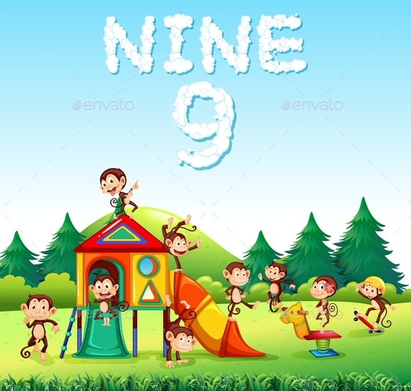 Nine Monkeys Playing at Playground - Animals Characters