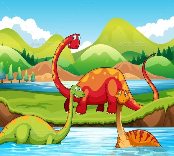 Dinosaur in Nature - Animals Characters