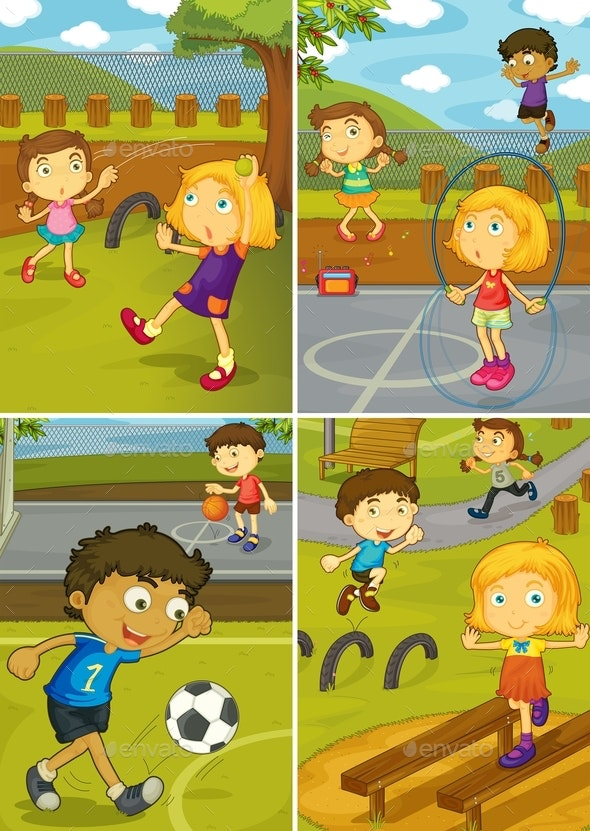 Set of Activity Kids at The Playground - People Characters
