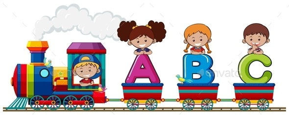 Children on Alphabet Train - People Characters
