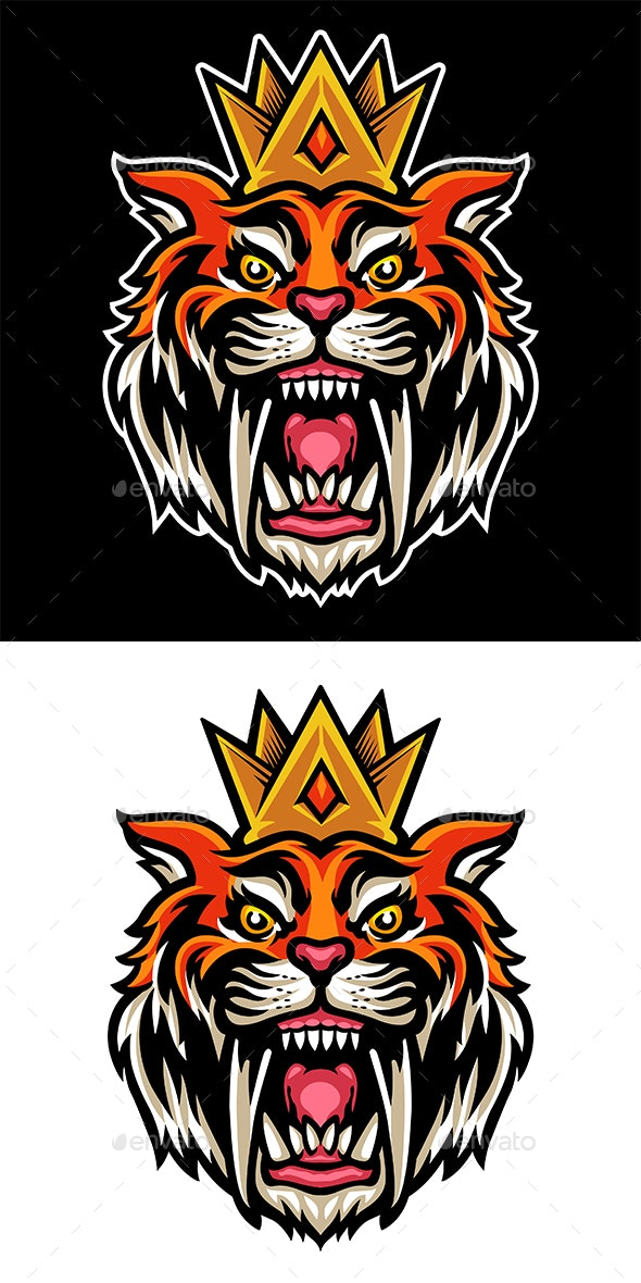 Sabertooth Head with a Crown - Animals Characters