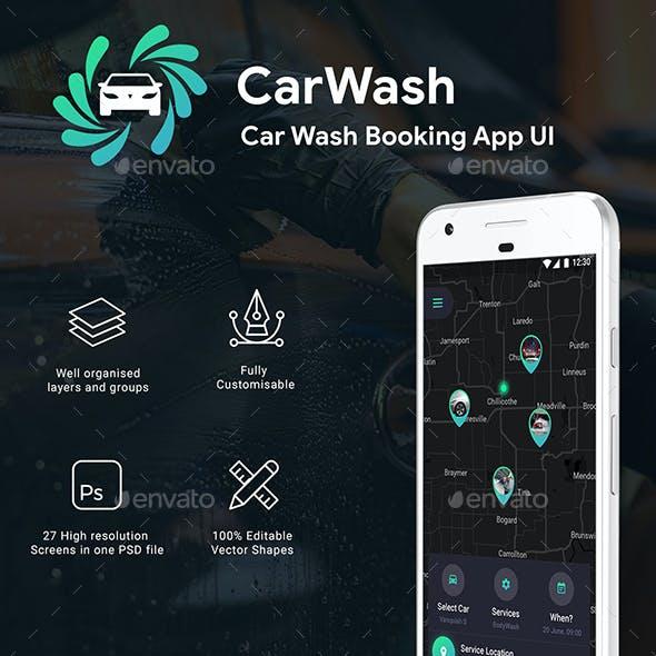 Car Wash Booking App Full UI Kit | 27 Screens PSD | CarWash