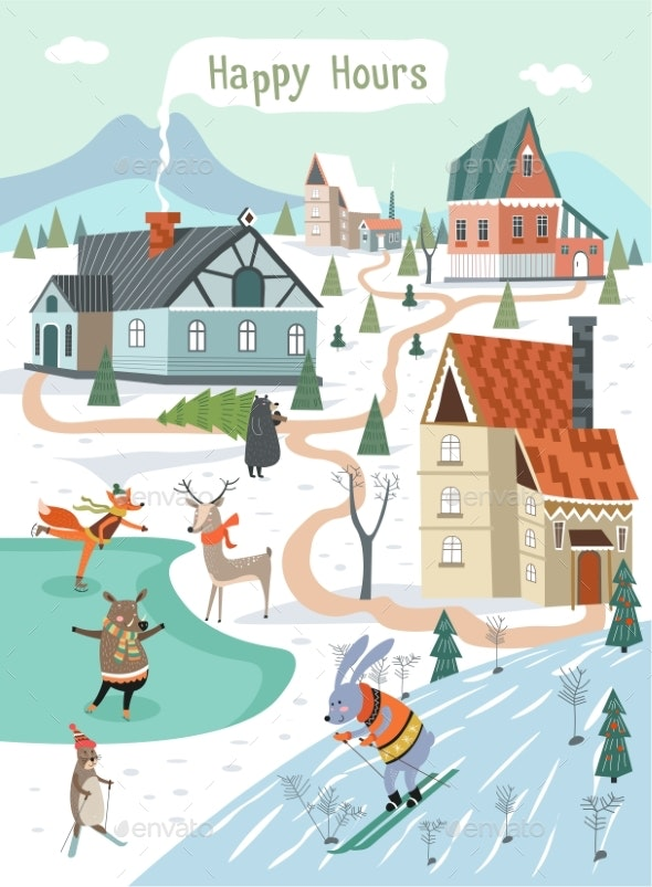 Happy Hours of Winter Holidays, Animals Playing - Seasons/Holidays Conceptual