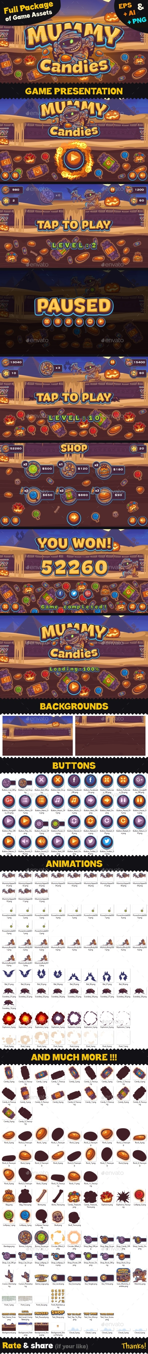 Game Assets for Mummy Candies - Game Kits Game Assets