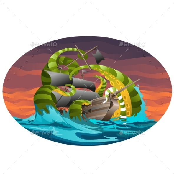 Oval Poster with Sea Ship Captured By Octopus - Monsters Characters