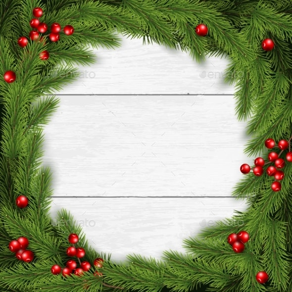 Christmas Wreath Vector Illustration on White - Christmas Seasons/Holidays