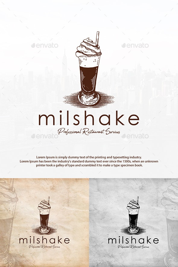 Chocolate Milkshake Logo Template - Food Logo Templates