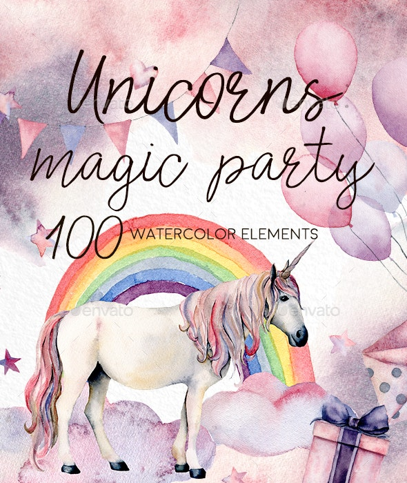 Unicorns: Magic Party. Watercolor - Nature Backgrounds