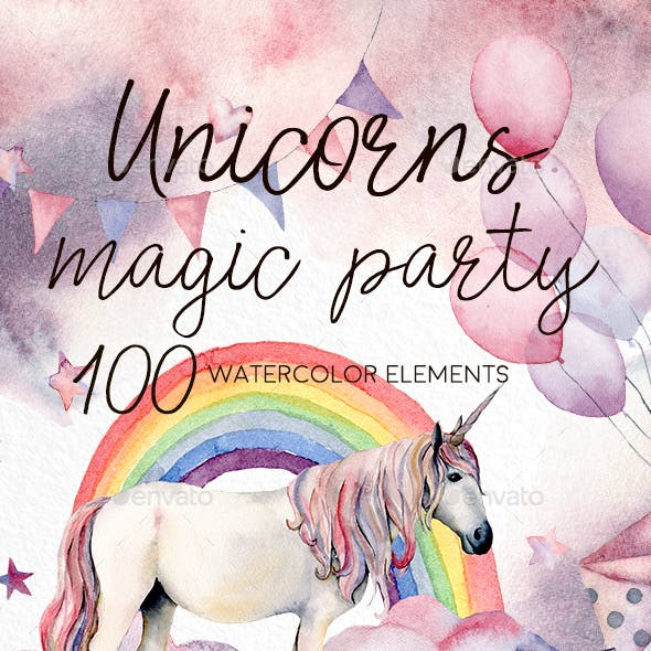 Unicorns: Magic Party. Watercolor