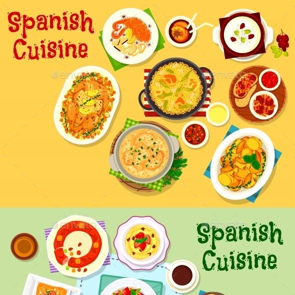 Spanish Cuisine National Dishes Icon Set Design