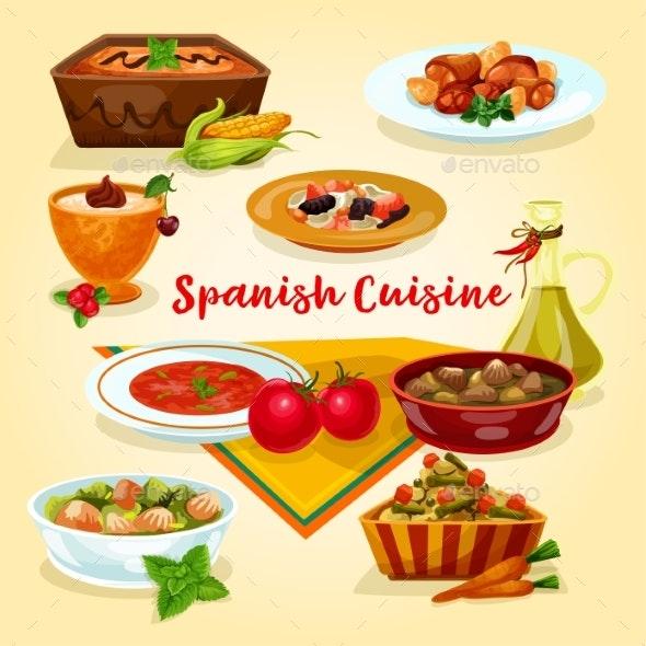 Spanish Cuisine Tasty Dinner Dishes Cartoon Icon - Food Objects