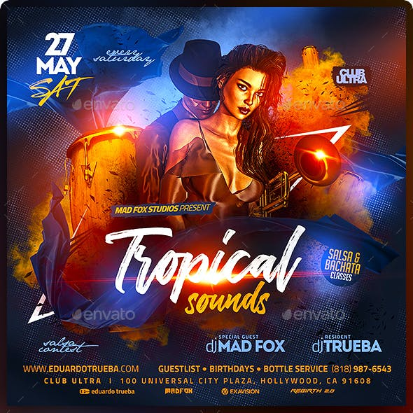 Tropical Latin Sounds Party Flyer