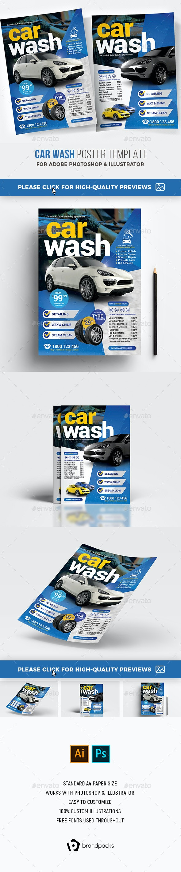 Car Wash Poster / Flyer Template - Corporate Flyers