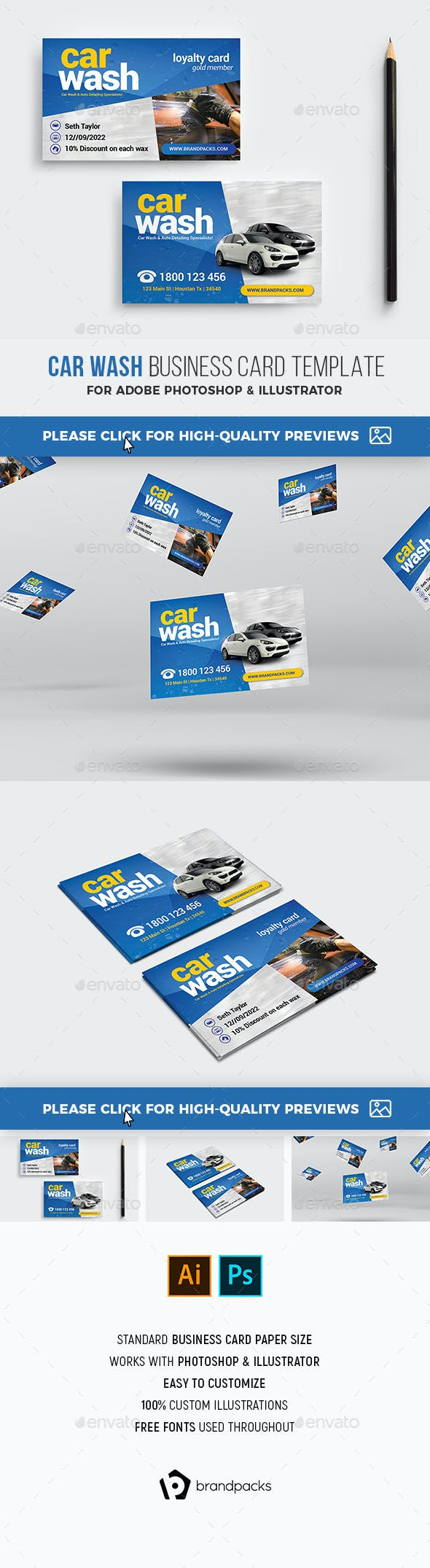 Car Wash Business Loyalty Card Industry Specific Cards