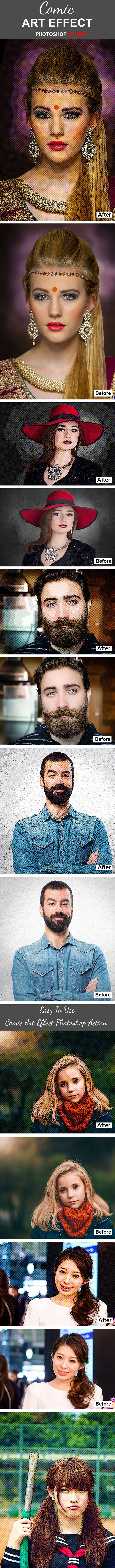 Comic Art Effect Photoshop Action - Photo Effects Actions