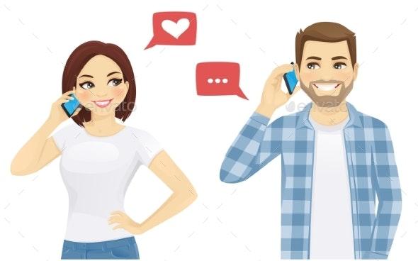 Friends Talking on Phone - Miscellaneous Vectors