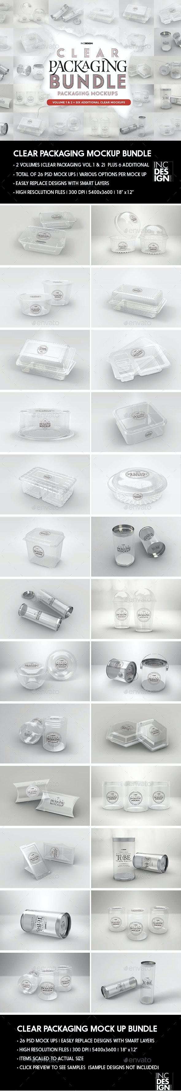 Clear Packaging MockUp BUNDLE - Food and Drink Packaging
