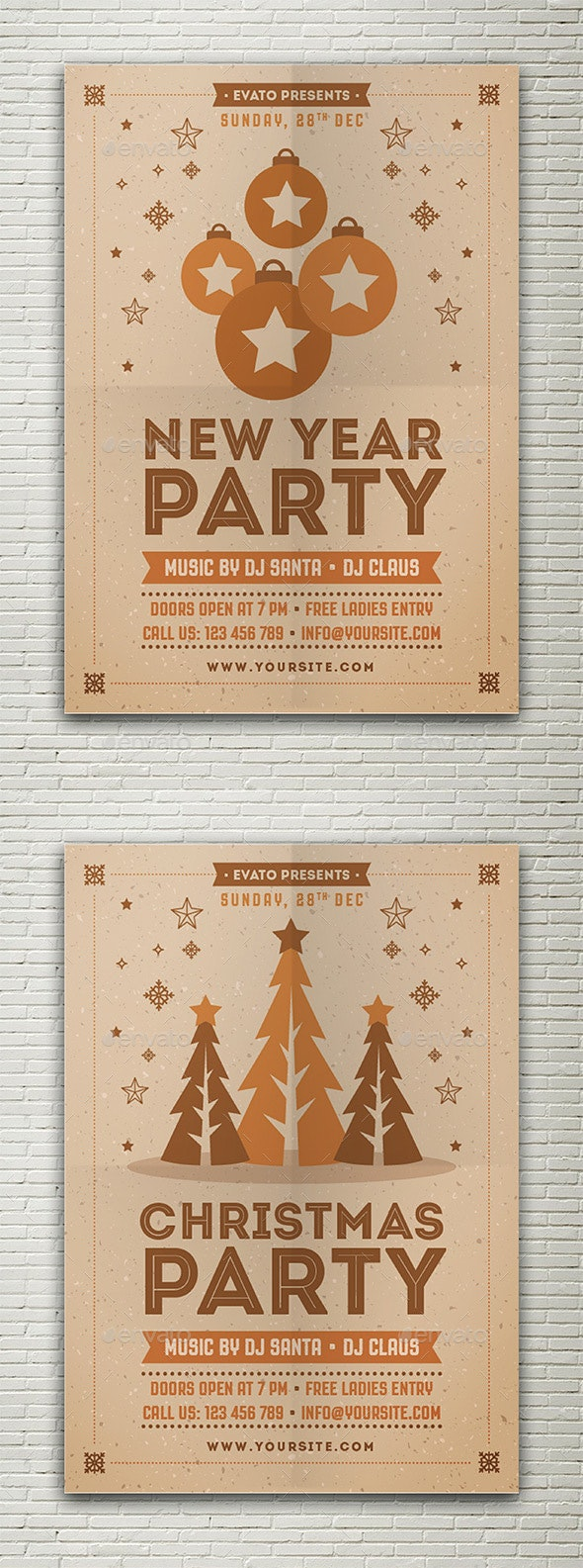 Christmas & New Year Party Flyer - Events Flyers