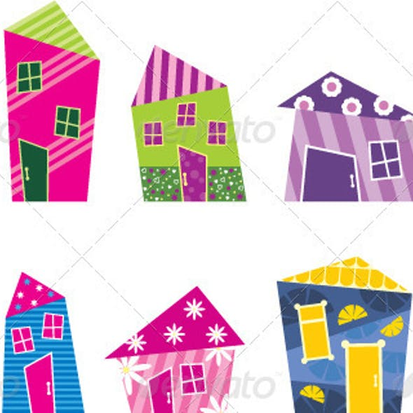 Set of the bright, painted cartoon houses