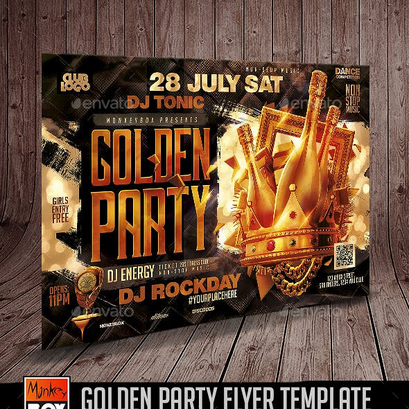 Golden Party Flyer Template