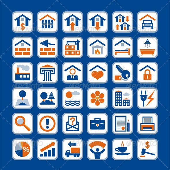 Real Estate 36 Vector Icons in 4 Colors