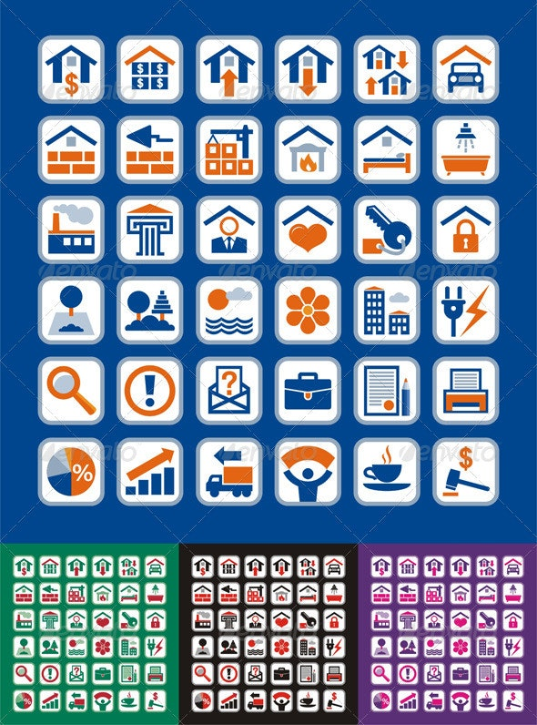 Real Estate 36 Vector Icons in 4 Colors - Objects Icons