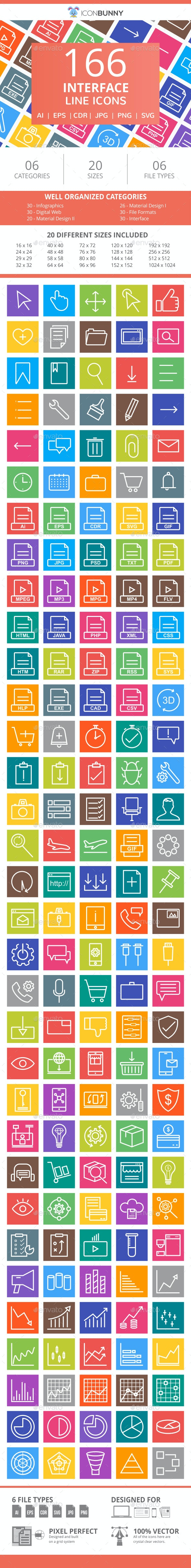 166 Interface Line Multicolor B/G Icons - Icons