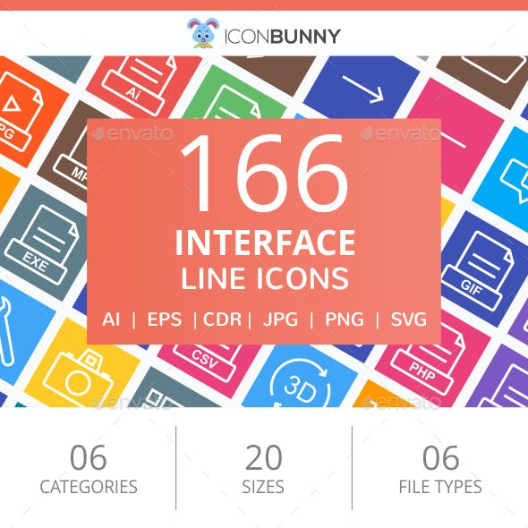 166 Interface Line Multicolor B/G Icons