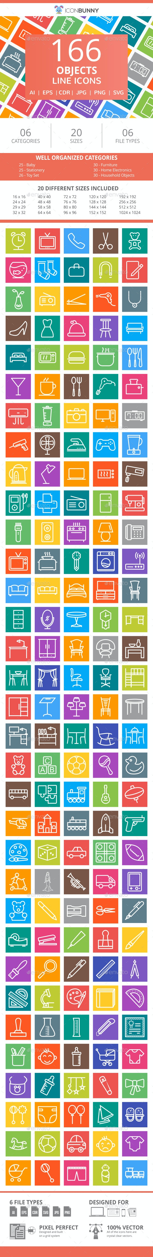 166 Objects Line Multicolor B/G Icons - Icons