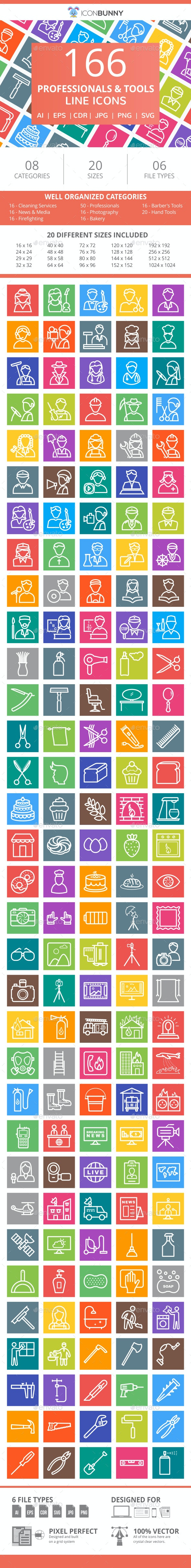 166 Professionals & their tools Line Multicolor B/G Icons - Icons