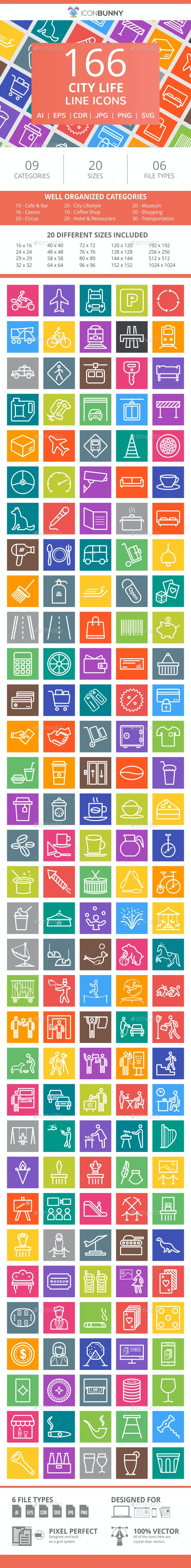166 City Life Line Multicolor B/G Icons - Icons