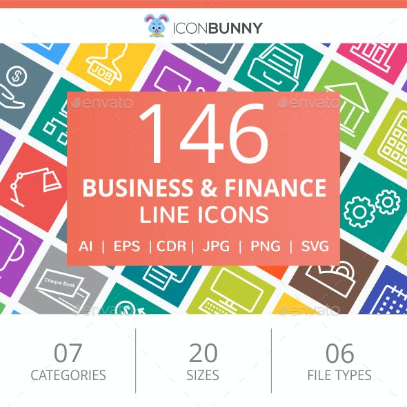 146 Business & Finance Line Multicolor B/G Icons