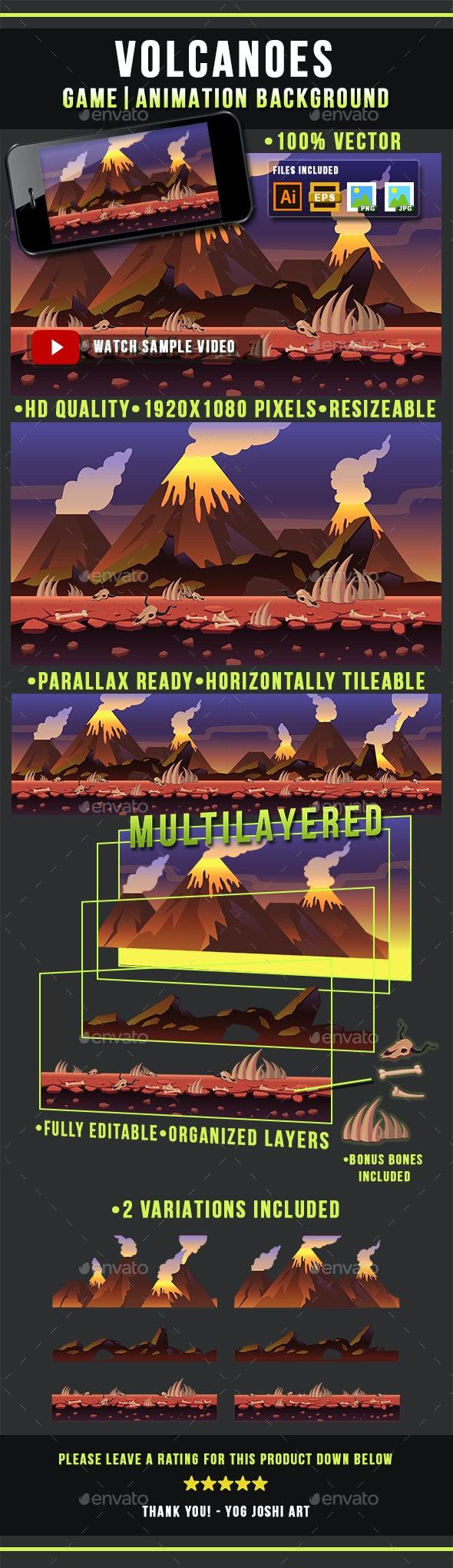 Volcanoes - Game Background - Side Scrolling - Backgrounds Game Assets