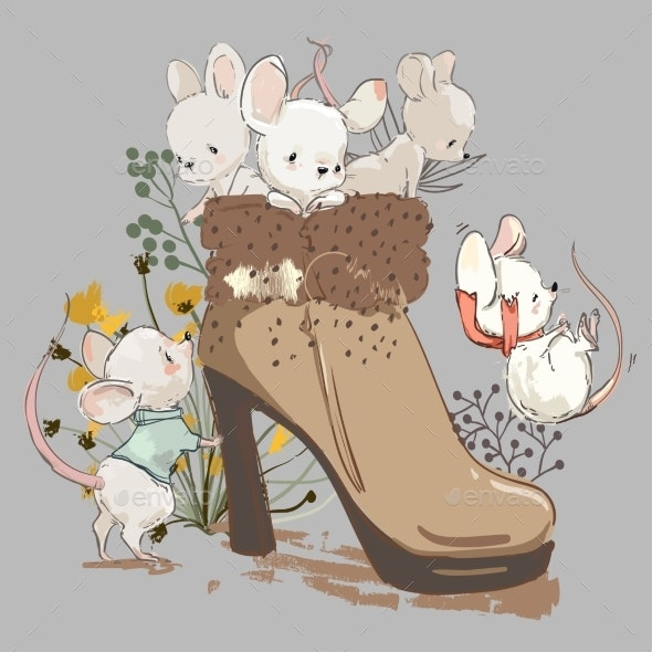 Cute Mouses in Boot - Animals Characters