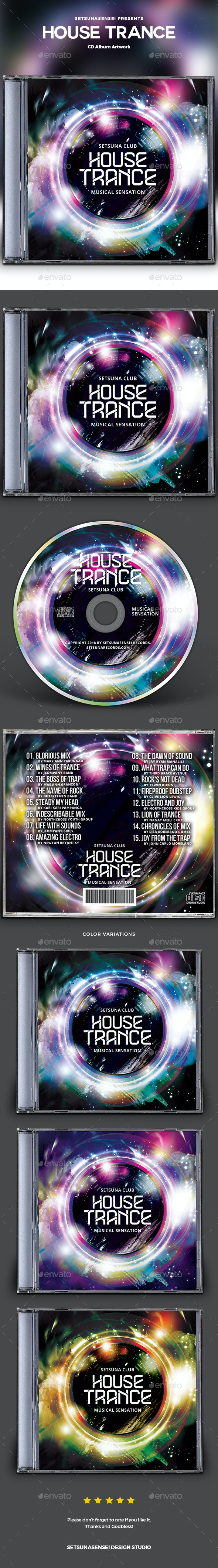 House Trance CD Album Artwork - CD & DVD Artwork Print Templates