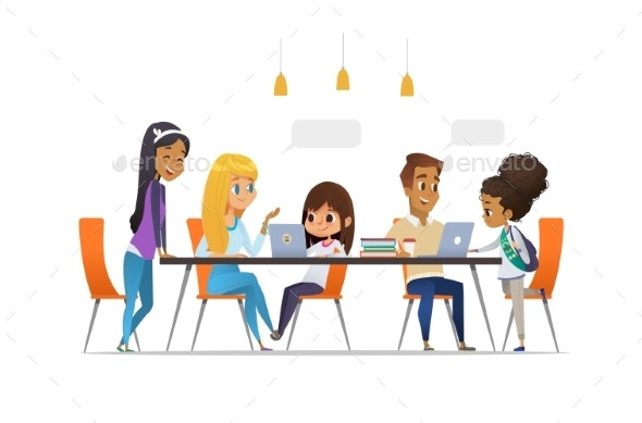 Computer Science Club. Happy Children and Students - Miscellaneous Vectors