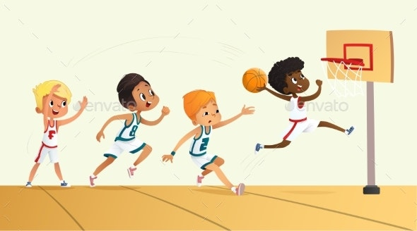 Vector Illustration Of Kids Playing Basketball - Sports/Activity Conceptual