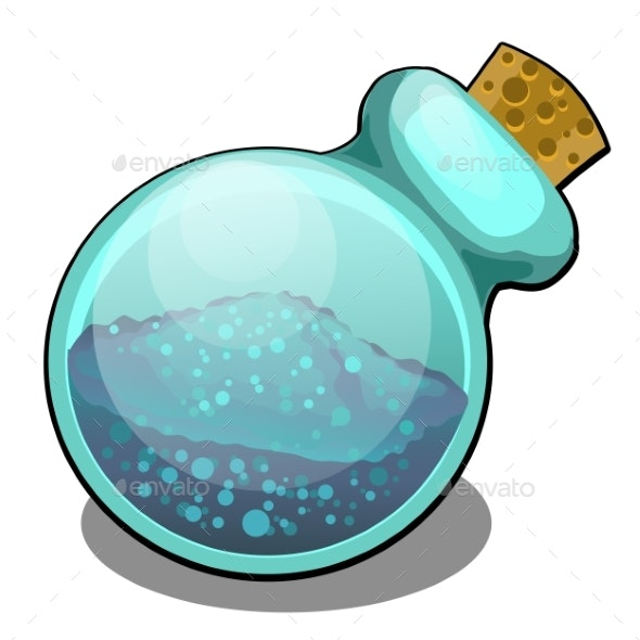 Cartoon Glass Flask with Friable Substance Closed - Miscellaneous Vectors