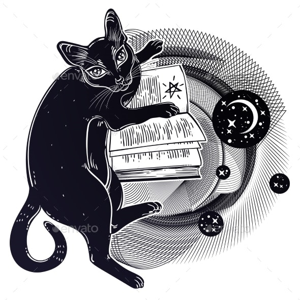 Smart Black Cat Reading the Magic Book - Animals Characters