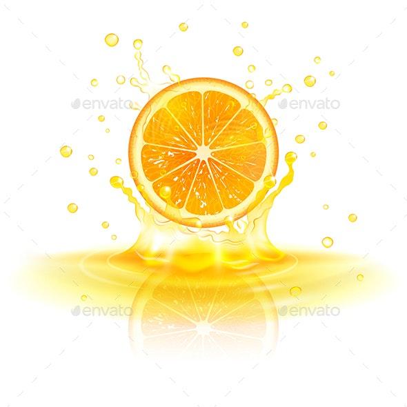 Orange in a Splash of Juice - Food Objects