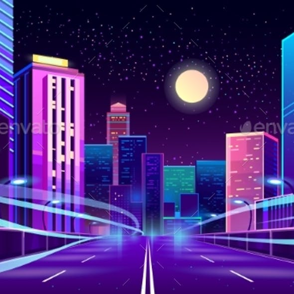 Vector Empty Road in Megapolis at Night
