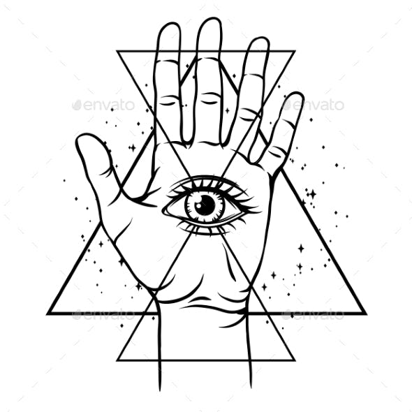 Open Hand with All Seeing Eye Symbol