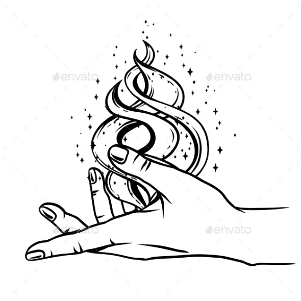 Open Hand with Magic Fire