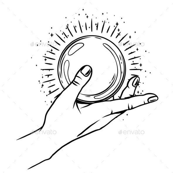 Open Hand with Magic Ball - Religion Conceptual