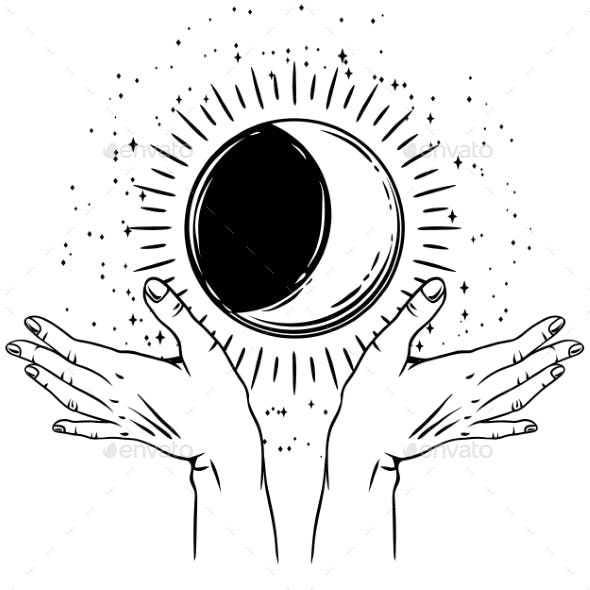 Open Hands with Vintage Moon